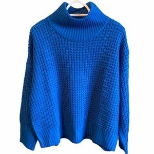 Topshop Blue Weave Stitch Roll Neck Sweater Size 4
